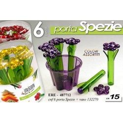 SET 6 PORTA SPEZIE 15 CM CON VASO COLORI ASSORTITI ERE-487712