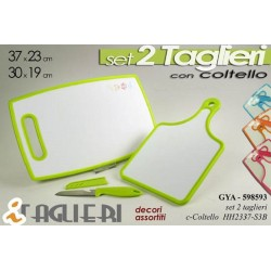 SET 2 TAGLIERI CON COLTELLO 37*23-30*19 CM DECORI ASSORTITI GYA-598593