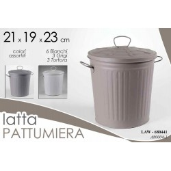 PATTUMIERA IN LATTA CON COPERCHIO TONDA 21*19*23CM COLORI ASS  LAW-680441