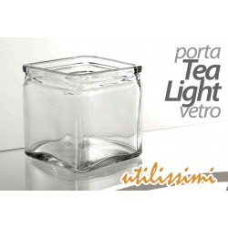 PORTA CANDELA TEA LIGHT IN VETRO PORTACANDELA 10*10*10 CM XDC-708770