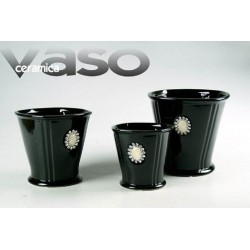 VASO NERO IN CERAMICA DECORATO H 18 CM DEN-384738