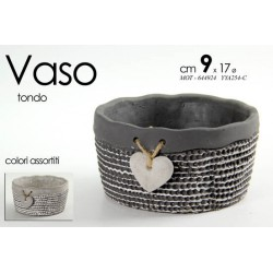 VASO PORTA PIANTA TONDO DECORATO CUORE 9*17⌀ CM COLORI ASSORTITI MOT-644924