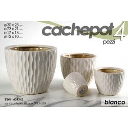 SET 4 CACHEPOT DECORATI VASO BIANCO TDS-635342