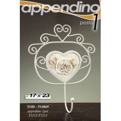 APPENDINO APPENDIABITI 1 POSTO IN METALLO DECORATO ROSE 17*23 CM TOD-514869