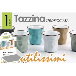 SET 6 TAZZINE CAFFE' STROPICCIATE IN PORCELLANA COLORATE 6 CM ILE-676611