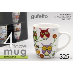 SET 4 TAZZE IN PORCELLANA MUG GUFETTO 325ml QEX-628665