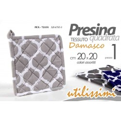 PRESINA A FORMA QUADRATA 20*20 CM DECORO DAMASCO COLORI ASSORTITI  PEX-721151