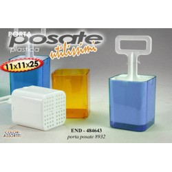 COLA POSATE PORTA POSATE IN PLASTICA 11X11X25 CM COLORI ASSORTITI END-484643