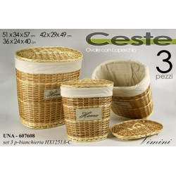 SET 3 CESTE IN VIMINI PORTABIANCHERIA OVALI CON COPERCHIO HOME UNA-607608