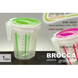 BROCCA GRADUATA IN PLASTICA 1 LT 18X13X17 CM COLORI ASSORTITI END-541872