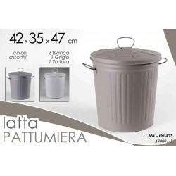 PATTUMIERA IN LATTA CON COPERCHIO TONDA 42*35*47 CM COLORI ASSORTITI  LAW-680472
