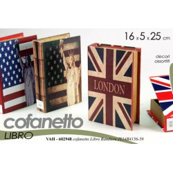 COFANETTO LIBRO DECORATO BANDIERE DECORI ASSORTITI 16*5*25CM VAH-602948