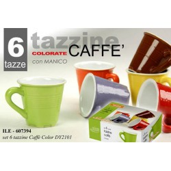 SET 6 TAZZINE CAFFE' COLORATE CON MANICO COLORI ASSORTITI ILE-607394