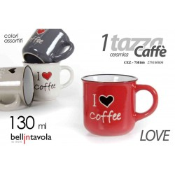 SET 6 TAZZE TAZZINE CAFFE' IN CERAMICA COLOR LOVE 130 ML CEZ-738166