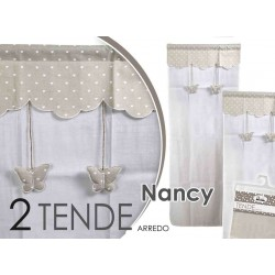 SET 2 TENDE ARREDO NANCY DECORO FARFALLE-CUORICINI 60*150 CM TSC-682339