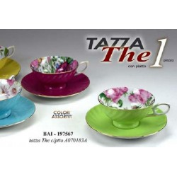 TAZZA TAZZINA COLOR THE CON PIATTINO TONDO COLORI ASSORTITI BAI-197567