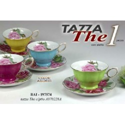 TAZZA TAZZINA COLOR THE CON PIATTINO COLORI ASSORTITI BAI-197574