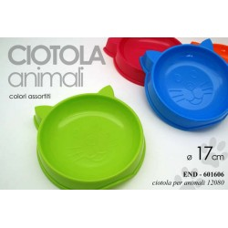 CIOTOLA DISPENSER CIBO CANE/GATTO ANIMALI 17 CM COLORI ASSORTITI END-601606