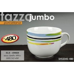 TAZZA IN PORCELLANA DECORATA JUMBO 480CC ELE-450020