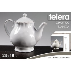 TEIERA IN CERAMICA BIANCA 23*18 CM THE CUCINA BORDI DECORATI JAL-677465