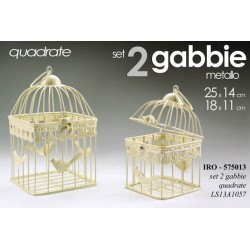 SET 2 GABBIE PER VOLATILI METALLO QUADRATE DECORATE 25*14/18*11 CM IRO-575013