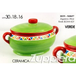 ZUPPIERA IN CERAMICA COLORATA VERDE 30*18*16 CM HON-568657