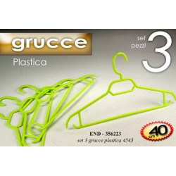 SET 3 GRUCCE 40 CM GUARDAROBA APPENDI ABITI IN PLASTICA END-356223