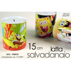 SALVADANAIO DECORO SPONGEBOB IN LATTA 15CM DECORI ASSORTITI SES-590535