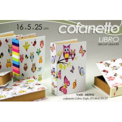 COFANETTO LIBRO DECORATO GUFI LEGNO DECORI ASSORTITI 16*5*25 CM VAH-602931
