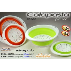 COLAPASTA TONDO IN PLASTICA SALVASPAZIO COLORI ASSORTITI DIMEN. 24 CM END-484667
