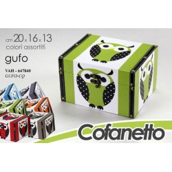 COFANETTO BAULE DECORATO GUFO COLORI ASSORTITI 20*16*13 CM VAH-647840
