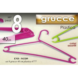 SET 8 GRUCCE APPENDI ABITI IN PLASTICA 40 CM COLORI ASSORTITI END-543289