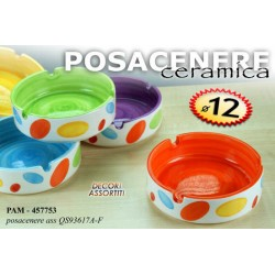POSACENERE IN CERAMICA COLOR POIS 12 CM COLORI ASSORTITI PAM-457753